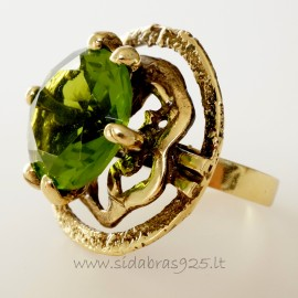 Žalvarinis žiedas su žaliu cirkoniu ŽŽ469