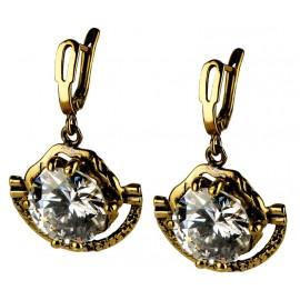 Brass earrings with 14 mm white zirconium ŽA341