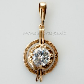 Bronze pendant with white 12 mm zircon BP342