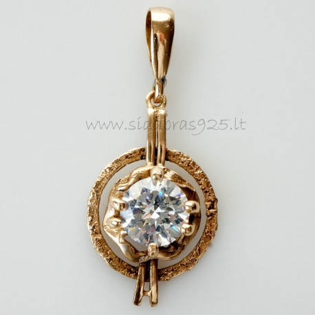 Bronze pendant with white 12 mm zircon BP342