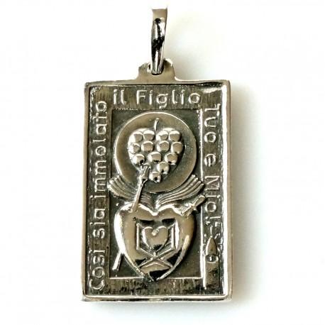 """Pakabukas religinis medalionas """"Dvi širdutės"""""""