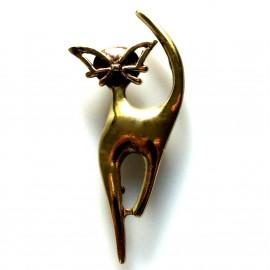 """Brass brooch """"Ūsuotas katinas"""""""