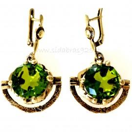 Brass earrings with green stone ŽA341