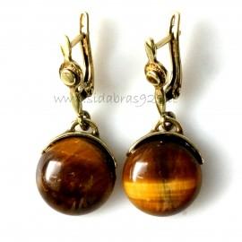 Brass earrings with tiger eye ŽA764