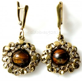 Brass earrings with tiger stone ŽA346