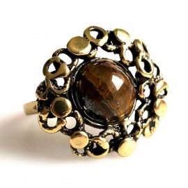 Žalvarinis žiedas su tigro akmeniu arba oniksu ŽŽ104