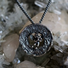 Pendant Medal with Angel, blackened