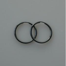 """Серьги-кольца конго маленькие черные с пузырьком """"Dirvolika ARJ-2,0 cm"""""""