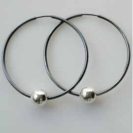 Earrings Hoop black large with bubble ARJ 5 cm