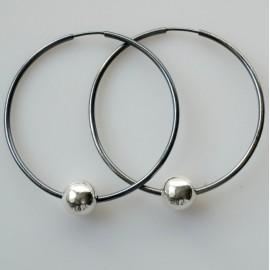 Серьги-кольца конго большие черные с пузырьком ARJ 5 cm