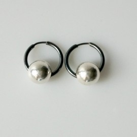 Earrings Hoop small black with bubble ARJ1.7cm