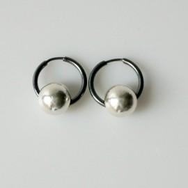 Earrings Hoop small black with bubble ARJ1.7cm