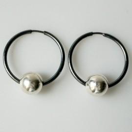 Серьги-кольца конго черные с пузырьком ARJ 2,5 cm
