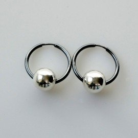 Серьги-кольца конго маленькие черные с пузырьком ARJ1