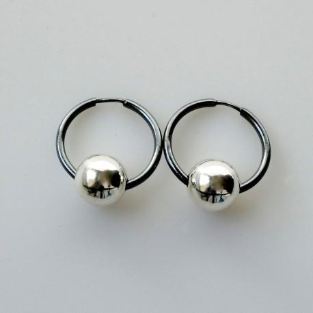 Auskarai mažos juodos rinkutės su burbulu ARJ1