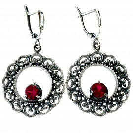 Earrings with red Zirconia A524