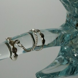 Ring double with chain