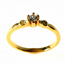 Gold Plated Ring with Zircon Engagement Ž732