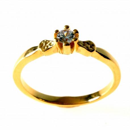 Žiedas Auksuotas su Cirkoniu Sužadėtuvių Ž732