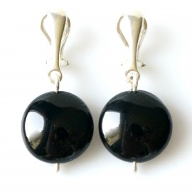 """Earrings """"Clips with Round Onyx"""""""