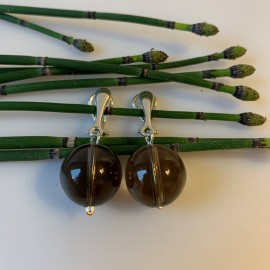 """Earrings """"Clips with Round Smoky Quartz"""""""