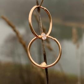 Золотые Cерьги-кольца (конго) с цирконом 1,6