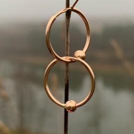 Gold earrings Hoop with bubble 1,5