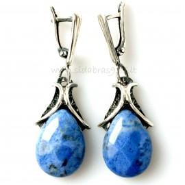 Earrings with Dumortierite stone A486