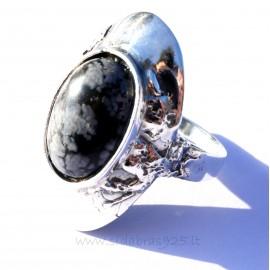 Кольцо с снеженным Обсидианoм Ž SO