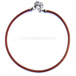 Brass necklace with brown genuine leather