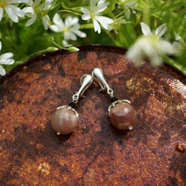 Earrings - Clips with natural sun stone