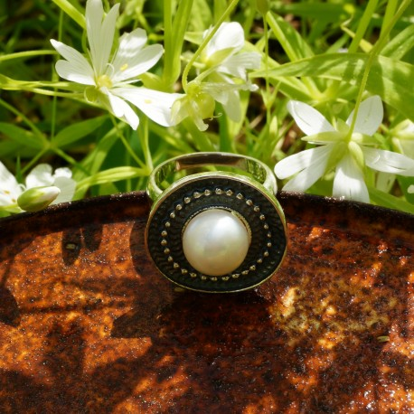 """Ring with pearl """"White wishes"""""""