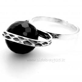 Žiedas aukštas su apvaliu Oniksu