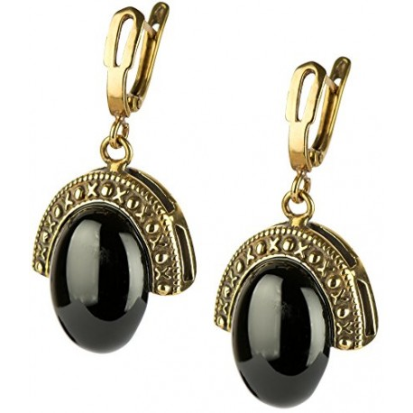 Brass earrings with the Onyx A715