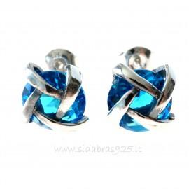 Earrings with blue Zircon