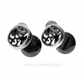 Earrings with black round Zircon