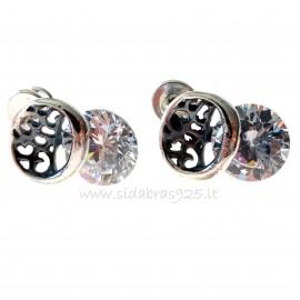 Earrings with white round Zircon